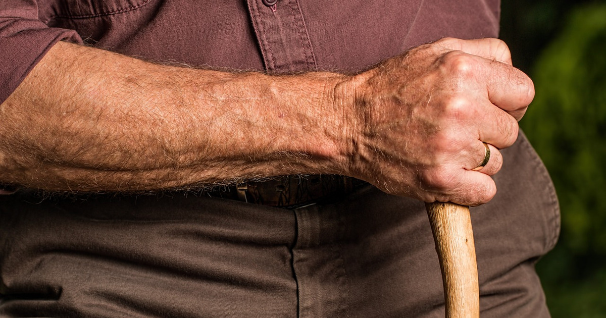 старик, рука, пенсионер