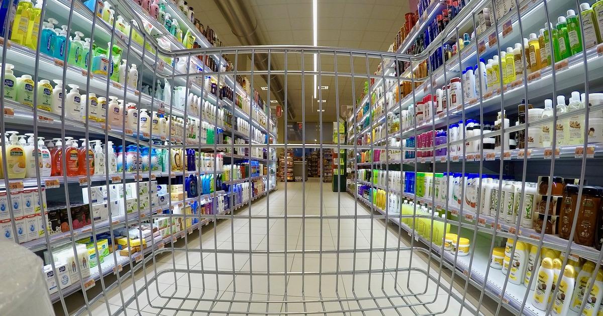 супермаркет, тележка, корзина