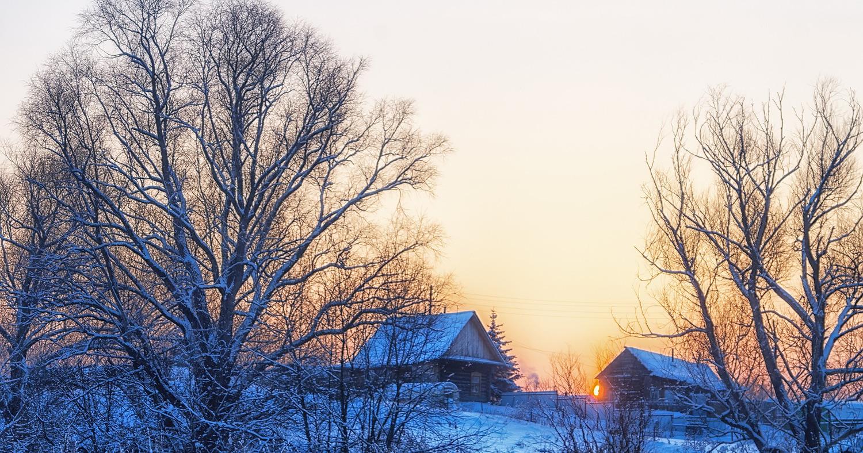 зима, деревня